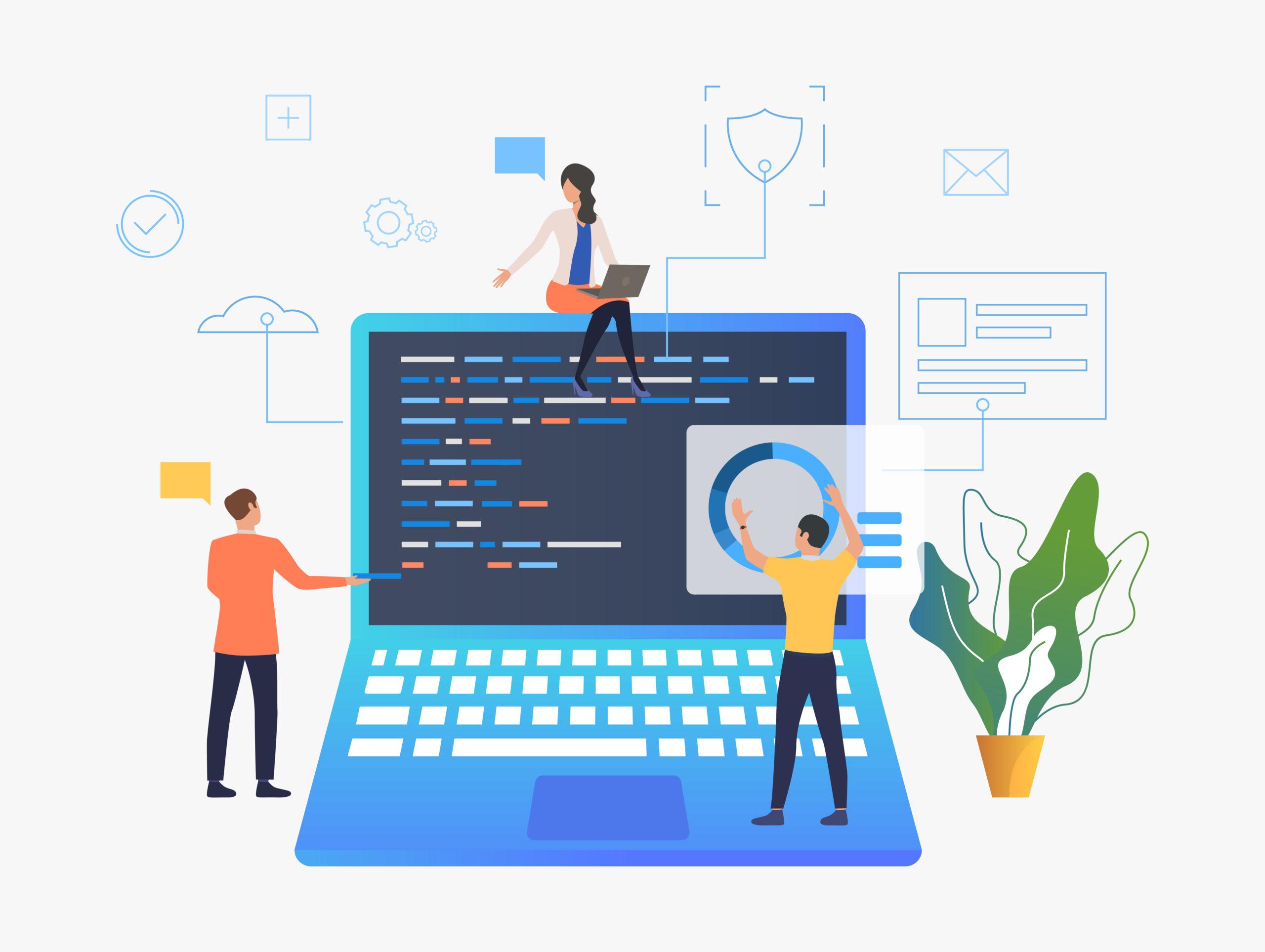 Business people working over laptop development vector